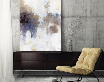 """Large abstract painting canvas art abstract art wall art canvas fine Art print wall art canvas blue white brown beige neutral """"Highlandia 3"""""""