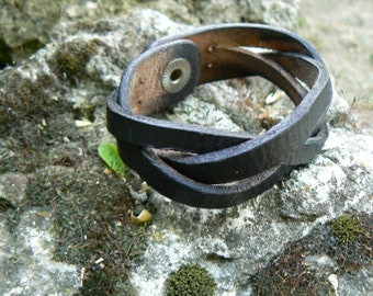 Mens leather cuff bracelet , Braided bracelet, Wide & Thick Leather, braided leather leather bracelet , christmas gifts for him