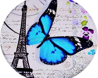 Large Cabochon resin Paris Butterfly 57mm