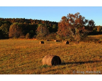 """Fine Art Color Rural Americana Photography of Ozark Farm in Shannon County Missouri - """"Field and Hay Bales in the Morning Light"""""""