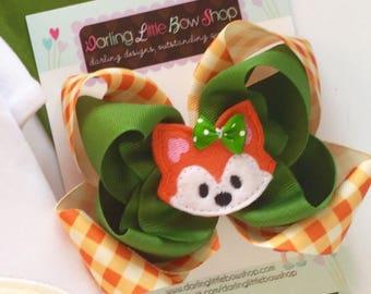 "Fox Bow, Fox Hairbow Bow -- Woodland Friend -- 5"" double bow with sweet fox center"