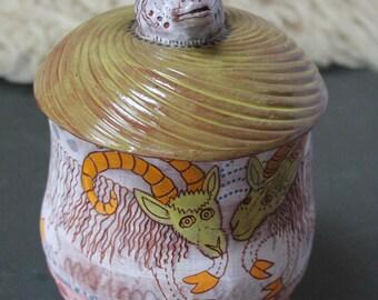 Goat Ceramic Jar, cookie jar, treat jar, handbuilt pottery