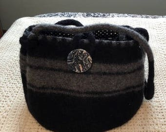 Black and Gray Wool Knit Felted Purse