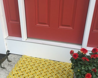 Maine rope rug, Upcycled lobster rope, Maine made, Nautical outdoor mat, Yellow doormat, Vibrant floor decor