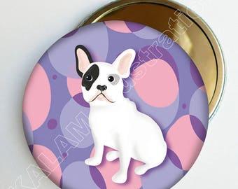 """Bulldog"" Purple, pink, accessory bag girl Pocket mirror"