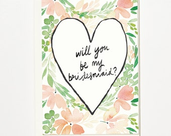 Will You Be My Bridesmaid? - Greetings Card, Bridal Card, Wedding Card