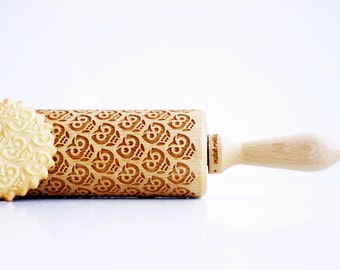 Rolling pins engraved : OWLS - embossing rolling pin, laser engraved rolling pin Birthday  gift funny