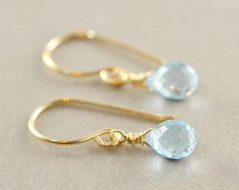 Blue Topaz Drop Earrings, December Birthstone, Minimalsitic, Petite Gemstone Dangle Earrings