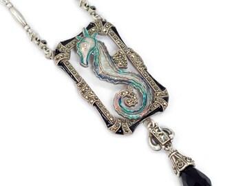 Seahorse Necklace, Art Deco Necklace, Beach Necklace, Ocean Necklace, Seahorse, Nautical Neckace, Seahorse Jewelry, Beach Jewelry N1293
