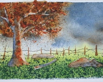 Forest Miniature Painting ACEO Original Watercolor Painting Abstract Small Miniature Paintings Tiny Art Trading Cards Original