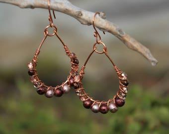 Copper Wire Earrings, Copper N Crystal Earrings