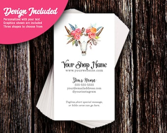 Business Cards - Custom Business Cards - Personalized Business Cards - Mommy Calling Cards - Western Feathers & Roses