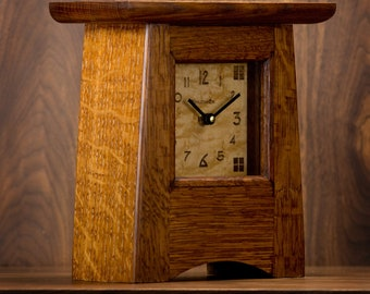 Craftsman / Mission / Arts & Crafts Mantel Clock / Ginkgo #15