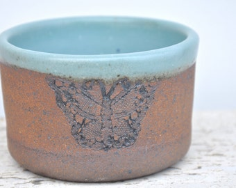 Ceramic bowl with butterflies, pottery bowl with butterflies, rustic pottery bowl, rustic decor
