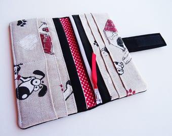 Dogs Wallet, Dogs Purse, Black Wallet, Black Purse, Dogs Fabric Wallet, Long Wallet, Bi-fold Fabric Wallet, Vegan Wallet, Black Woman Wallet