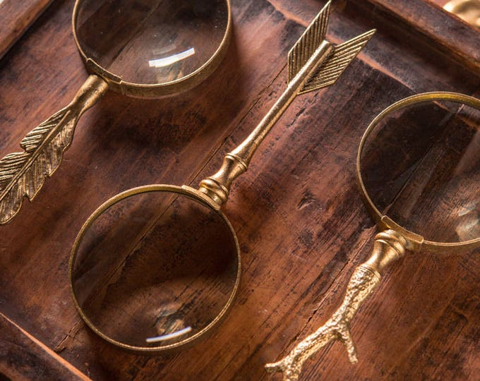 Featured listing image: Gold Leafed Arrow Handled Magnifying Glass