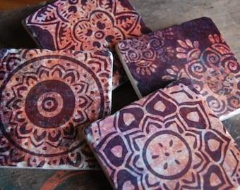 Burgundy Henna coasters