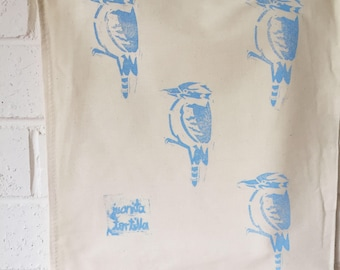 Vintage drawstring calico cotton prospectors bag with Blue Kookaburra. Bird illustration.