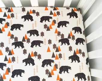 Crib Sheet Geometric Bears with Orange. Fitted Crib Sheet. Baby Bedding. Crib Bedding. Minky Crib Sheet. Crib Sheets. Bear Crib Sheet.