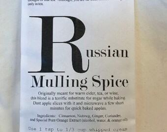 Russian Mulling Spice - Seed Style Packet Envelope