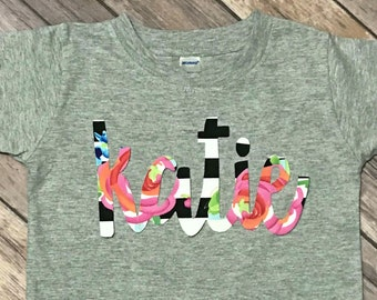 Girls Summer Floral Name Tee - monogram spring chic fabric applique personalized baby toddler shirt black white pink stripe