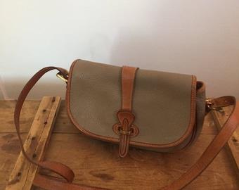 Vintage Dooney & Bourke Bag / Over Under Bag / Dooney and Bourke All Weather Leather / Tan Taupe Dooney / Tack Bag / Rare Old Dooney