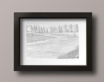 River Print - River Decor - River Art - River Artwork - Landscape Print - Landscape Wall Art - Landscape Decor - Landscape Drawing