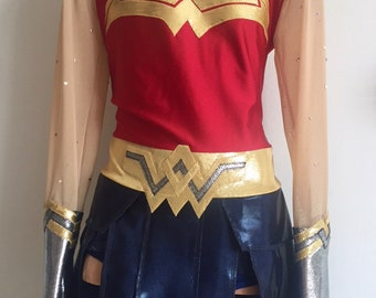 Wonder Woman Inspired Skating Dress and Headband. Wonder Woman Performance Dress. Wonder Woman Dance Costume. Size 2T - Girls 12