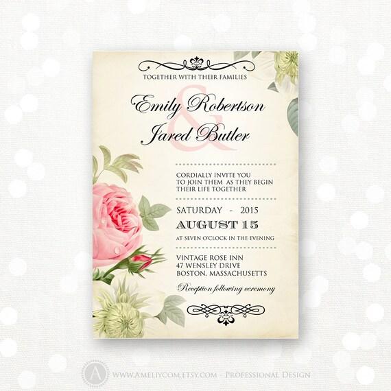Printable Wedding Invitation Pink Roses Vintage Weddings