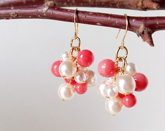 Dangle Earrings Coral Red Glass Pearl And White Glass Pearl
