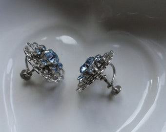 Ice Blue Rhinestone Earrings