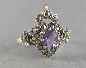 CROWNED heart promise ring, vintage sacred heart amethyst and marcasite engagement ring, unique silver and purple gemstone gift for her ring