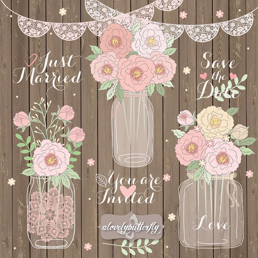 Rustic Wedding Clipart And Digital Paper Peonies
