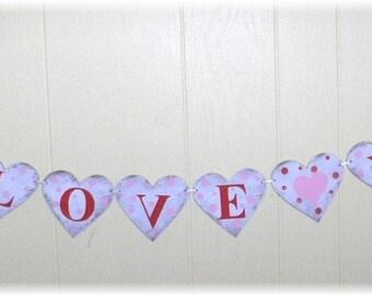 Valentine's Day I Love You Banner Garland Wood Hearts Red And Pink Wood Valentine's Day Heart Sign