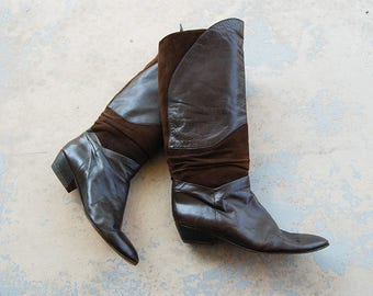 vintage 1980s Riding Boot - 80s Brown Suede and Leather Boots Knee High Boots Flat Boots Sz 10 41