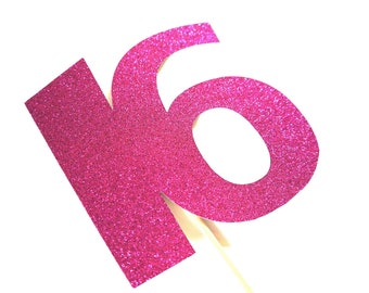 Photo Booth Props - GLITTERY Hot Pink 16 on a stick  - 16th Birthday - GLITTER Photobooth Prop