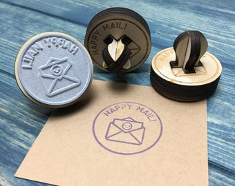Happy Mail stamp, Cute mail stamp, packaging stamp