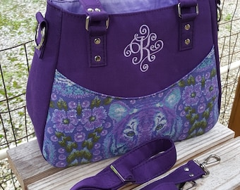 "Concealed Carry Purse, Monogrammed CC Purse, Monogram ""K"" cc Bag, Crossbody CC Purse, Concealed Carry Handbag, CCW  Handbag, Purple Gun Bag"