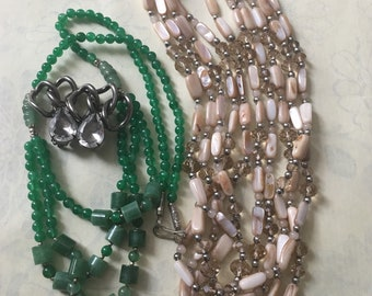 Vintage clip on earrings by Alexis Kirk - Two beautiful Glass / Crystal / Jade beaded necklaces