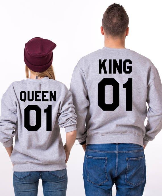 King Queen 01 Set of 2 Couple Crewnecks, King Queen 01 Set of 2 Couple Sweaters, UNISEX