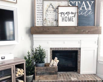 Stay Awhile 36x48 MORE COLORS / hand painted / wood sign / farmhouse style / rustic