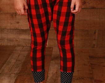Red Buffalo Plaid Leggings Baby Girl Leggings Baby Leggings Buffalo Plaid Leggings Plaid Leggings Red and Black Leggings Baby Gift