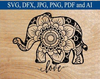 Elephant SVG, Elephant Mandala svg, Mandala, Svg Mandala, Mandala svg, Animal SVG, Commercial Use SVG, Cut File