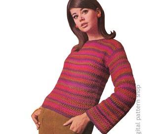 Crochet Sweater Pattern Vintage Easy Striped Pullover Sweater Pattern Womens Bell Sleeve Jumper Top Instant Download PDF Pattern - C184