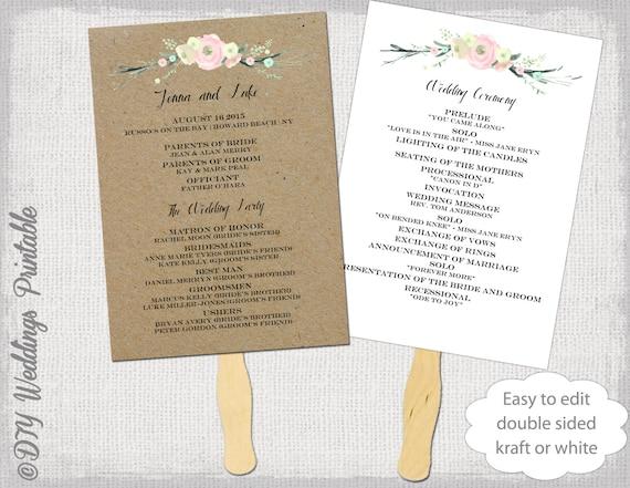 Wedding program fan template Rustic Flowers DIY