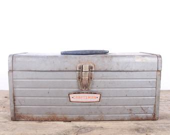 Vintage Silver Craftsman Metal Toolbox with Tray / Industrial Box / Metal Storage Box / Antique Metal Tool Box / Rusted Prop Unique Storage