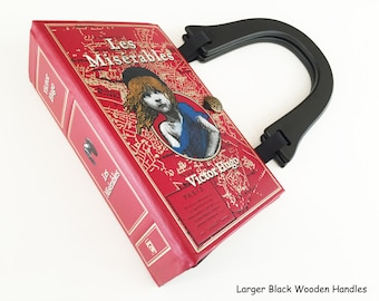 Les Miserables Leatherbound Recycled Book Purse - History Collector Gift - Victor Hugo Book Bag - Theatre Gift - Patron of the Arts Handbag