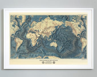 "The Floor of the Oceans Map, Topography of Lands and Oceans of the World - 24""x36"" Art Print, Museum Quality"