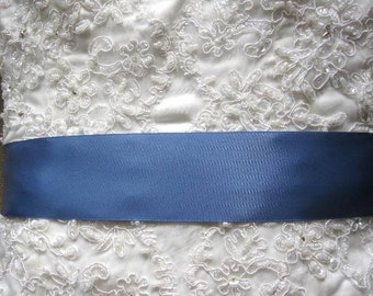 "Antique Blue  2"" 50mm Wide Silky Satin Ribbon Wedding Gown Sash"