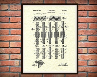 Patent 1964 Surgical Suture - Art Print - Medical -  Doctors Office - Nurse - Surgery Stitches - Hospital Wall Art - Surgeon Wall Art